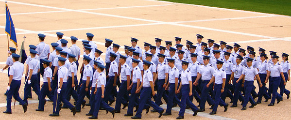 Toy soldiers... Cadets march to lunch, United States Air Force Academy, Colorado Springs, CO