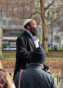 Activist speaking in Hyde Park Speakers Corner, London, United Kingdom