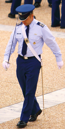 Upper class cadet practices marching with his sabre, United States Air Force Academy, Colorado Springs, CO
