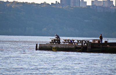 I really do wonder what these fishermen are catching out of the Hudson...and do they eat it?  Englewood Cliffs, NJ