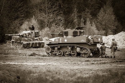 "M5 Stuart Tank ""Nasty Girl"" and Panzer VI Tiger"