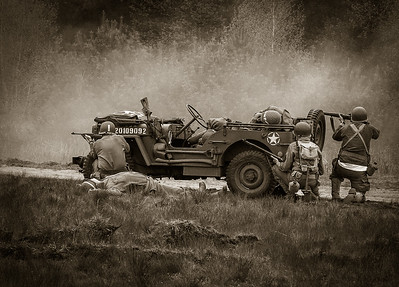 WWII Jeep and Infantry