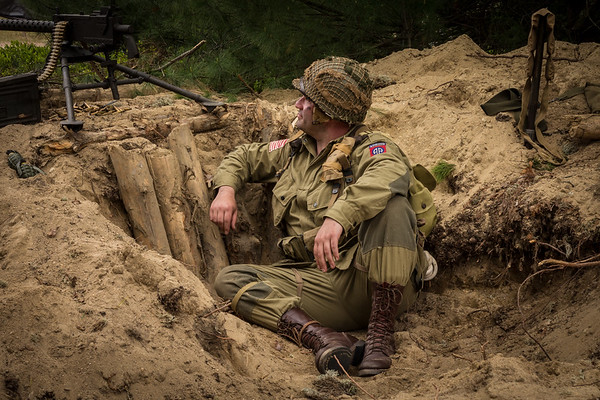 82nd Airborne Soldier in a Fox Hole