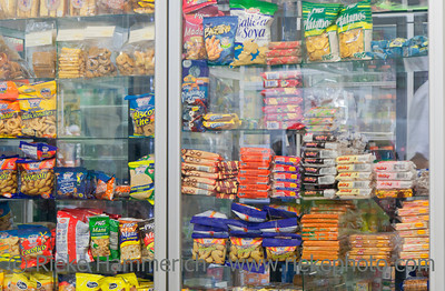 SAN JOSE, COSTA RICA - SEPTEMBER 23: Snacks in a window display in cafeteria of university in San Jose, Costa Rica on September 23, 2008. Excessive snacking caused obesity in Costa Rica.