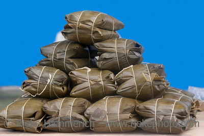 Tamales - Meat or vegetables and rice steamed in banana leaf - Traditional Costa Rican Cuisine