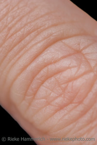 Human Finger of a mature woman-  isolated on black