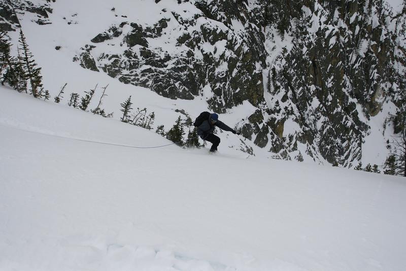 Pat ski-cutting the entrance to the Gun Barrel.