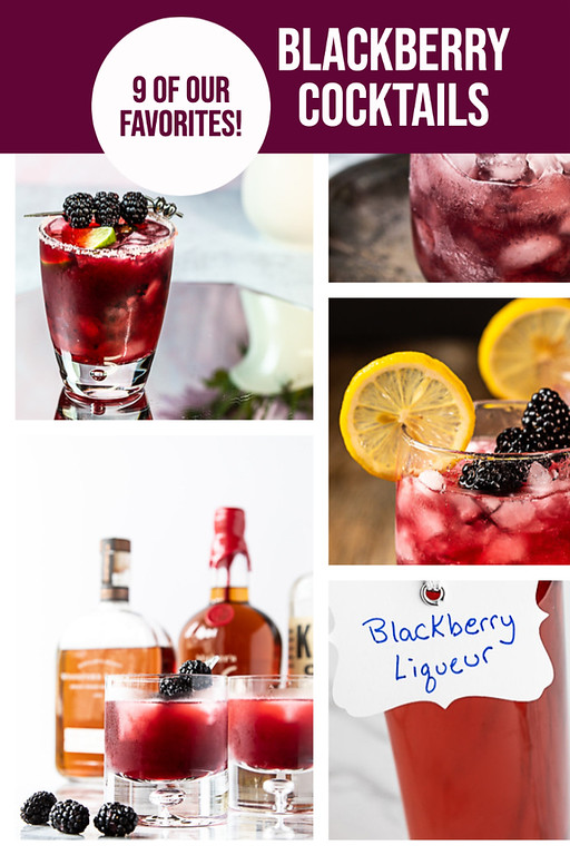 Photo collage of blackberry cocktails.