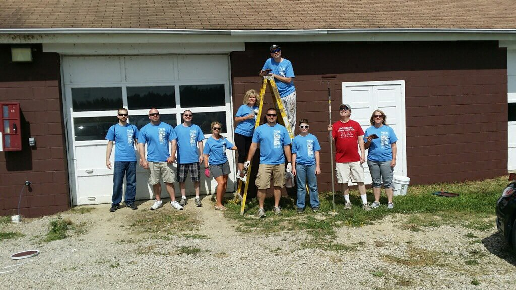 . Boy Scout and Huntington Bank volunteers at Camp Sigwandish in Madison