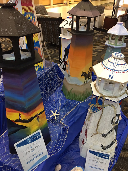 """These lighthouses will be auctioned during a fundraiser to benefit United Way of Lake County and Lake Health Foundation. The event is Aug. 10 at Perry Community Center. For more information, visit  <a href=""""http://www.facebook.com/LightingtheWayLakeCounty"""">http://www.facebook.com/LightingtheWayLakeCounty</a>. (Cheryl Sadler - The News-Herald)"""