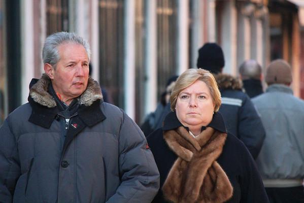Italy, Venice, Senior Couple Walking