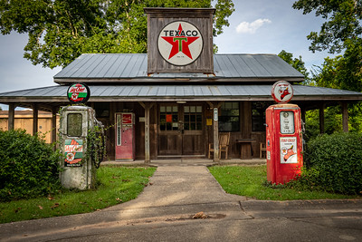 Faux Retro Texaco Gas Station with Antique Gas Pumps