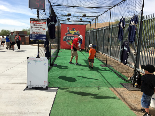 . Mark Meszoros -- The News-Herald Young ones can try to pitch like a big leaguer at this station at the Peoria Sports Complex.