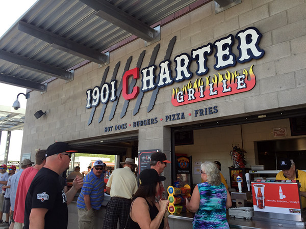 . Mark Meszoros -- The News-Herald Like many minor league stadium food stands, this one at Goodyear Ballpark represents one of its host team, as the Cleveland Indians block �C� in the name indicates.