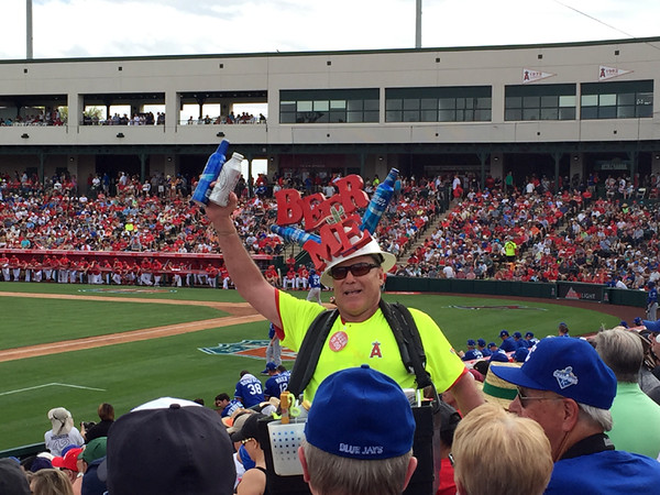 . Mark Meszoros -- The News-Herald It�s hard to argue with this beer vendor -- or, more specifically, with his hat -- at Tempe Diablo Stadium.