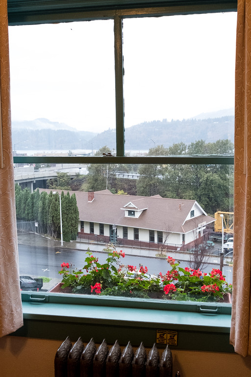 View from Hood River Hotel in Hood River Oregon