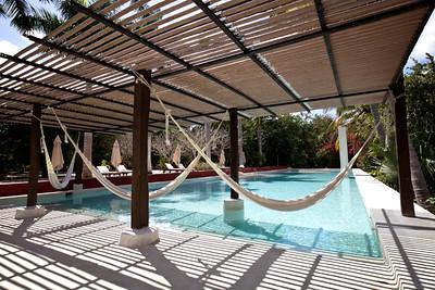 Hammocks over the pool