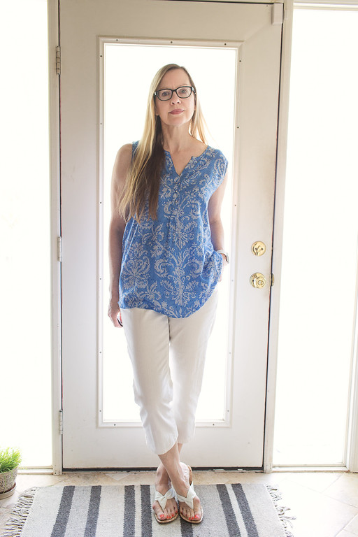 Grand & Greene blue shirt, Montego Bay Sandals, Bandolino Blue capris | Fashion Over 50