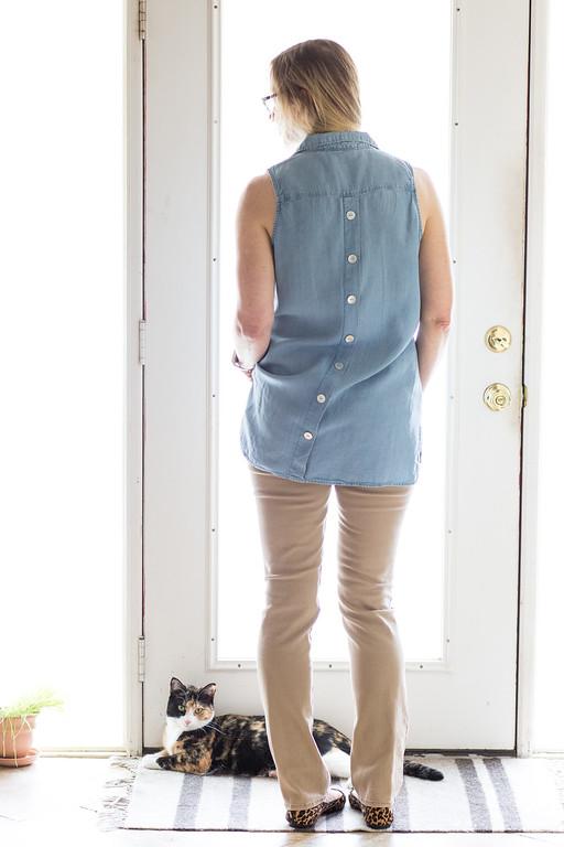 Steinmart shirt, DKNY Jeans, Anne Klein flats Fashion over 50