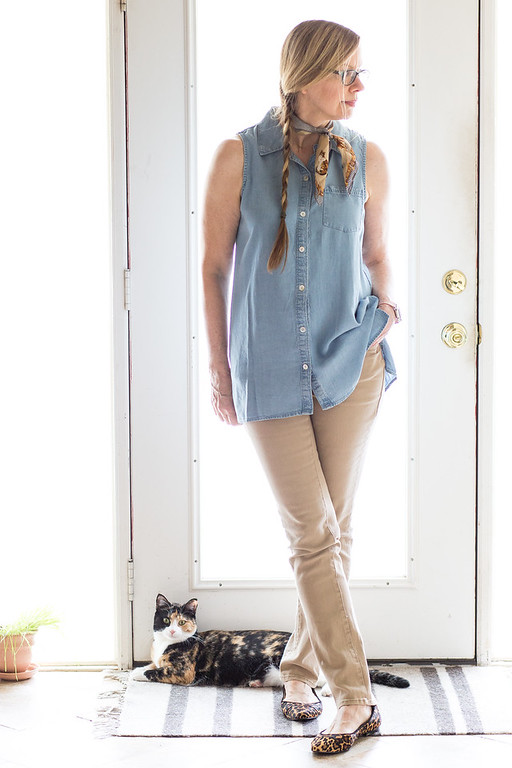 T & W Designs Top, DKNY Jeans, Scarf for fashion over 50