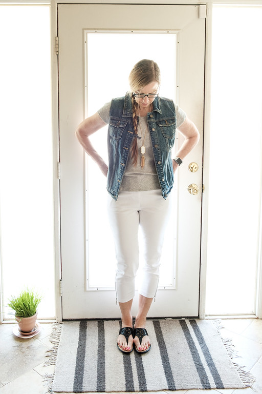 Mossimo Vest Target Sonoma T-shirt Premise White Pants and Born Sandals