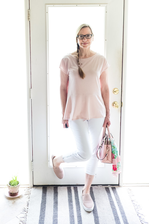 Blush peplum Jones of New York, Premise White Skinnies, Michael Kors blush loafers