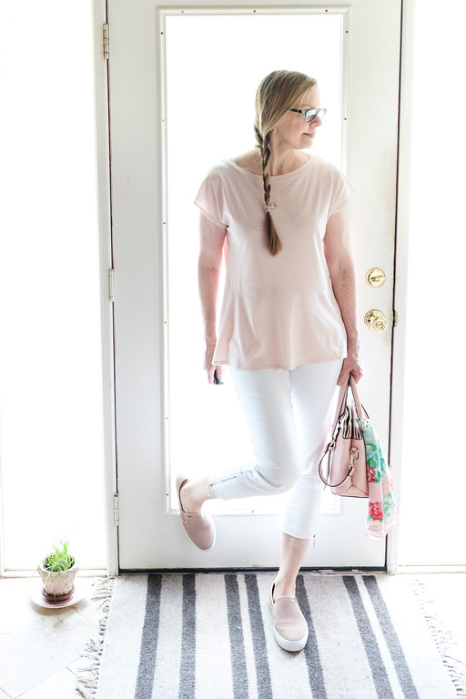 Blush peplum, blush purse, blush Michael Kors shoes, French Minimalist Capsule Wardrobe
