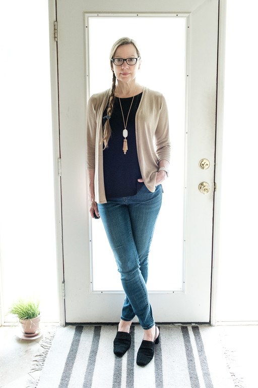French Minimalist Capsule Wardrobe outfit #76 Lee skinny jeans, Jasmine black sling backs, Premise cardigan, Paraphrase black tank top