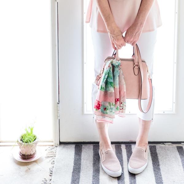 Capsule Wardrobe using blush - Michael Kors shoes, blush purse, blush Jones of New York Peplum, Premise white skinnies