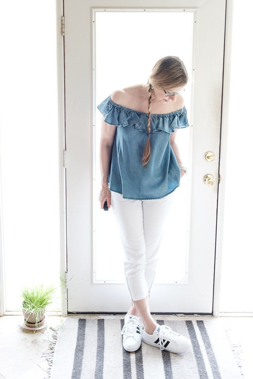 Chambray top, white skinnies, Addidas sneakers - Fashion Over 50