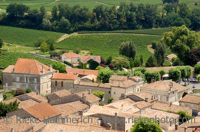 view over saint-emilion and vineyards - famous french village - adobe RGB