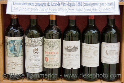 six famous wines for sale - saint-emilion, france - adobe RGB