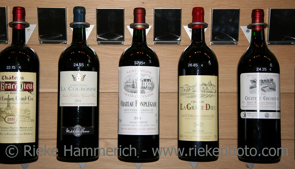five famous wines in a store - saint-emilion, france - adobe RGB