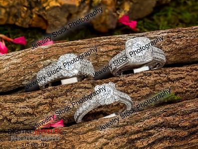 3 Diamond Halo Rings on Log Lifestyle Pave Nature
