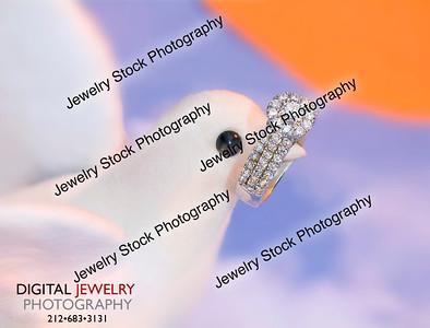Dove Holding Diamond Halo Ring in Beak Lifestyle