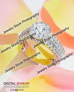 Halo Diamond Ring On Flower Petals Lifestyle