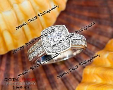 Halo Diamond Ring On Sea Shells Lifestyle