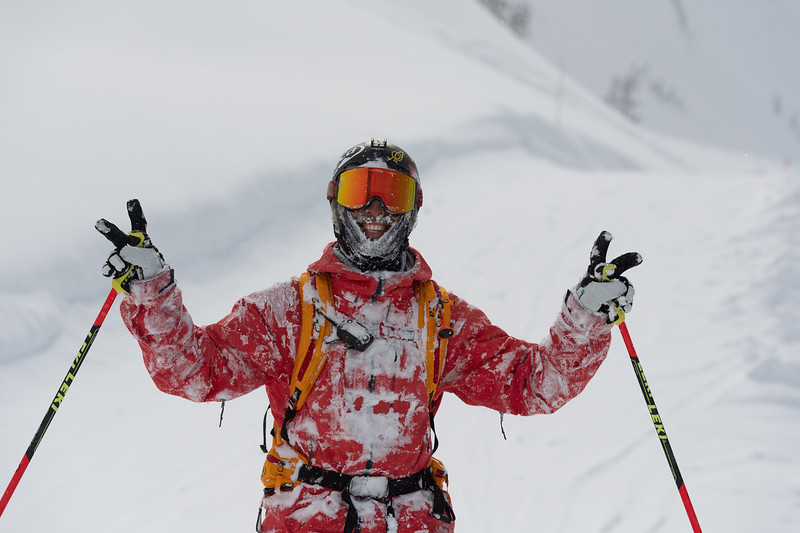 Adam Ü goes head first into the powder resulting in his classic stoked enthusiasm.