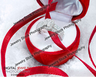 Diamond Halo Ring in Gift Box Red Ribbon Snow Lifestyle