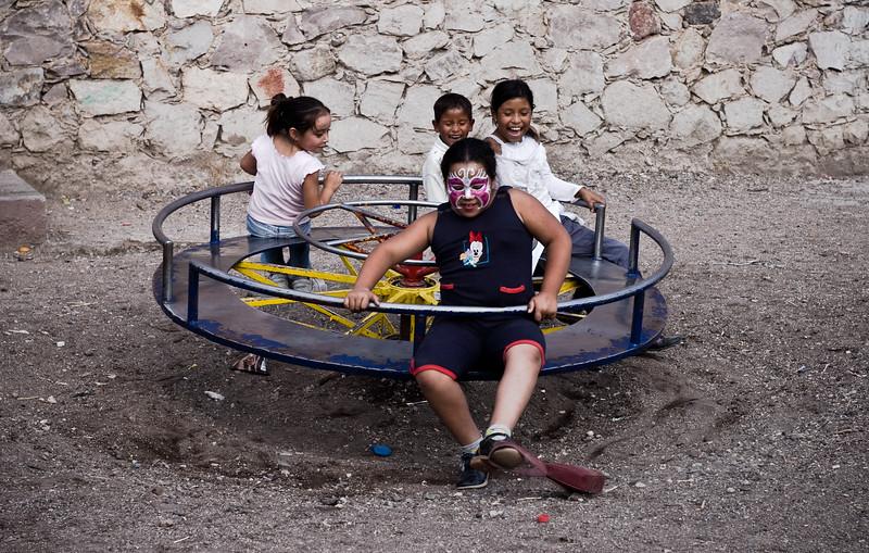 Children play in Guanajuato, Mexico during the annual Miner's festival.