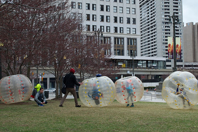 Human Bumble Balls at Grand Circus Park, Detroit