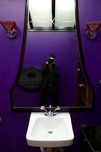 Purple walled men's room at Woodbridge Pub, Detroit