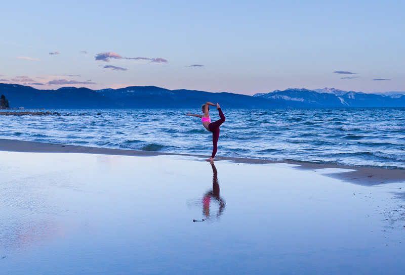 Karlee Andrews, local from Kings Beach, practicing her 'Dancer's Pose' along gorgeous Lake Tahoe one afternoon.