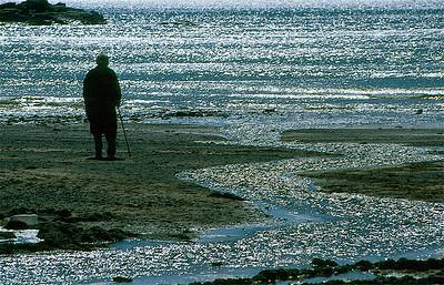 Woman on beach, colour