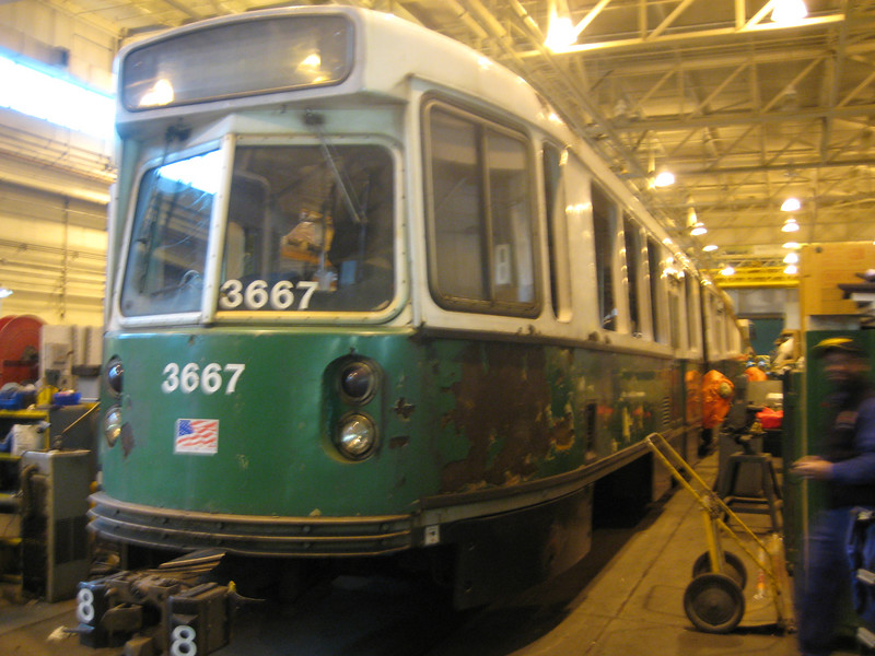 3667 undergoes extensive work in the Riverside Shop. This car will later be the first painted in the new green and white paint.