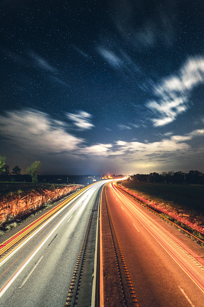 Light Trails Along a Lonely Highway