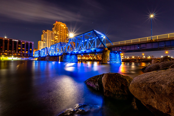 The Moon Peeks Over the Grand Rapids Blue Bridge