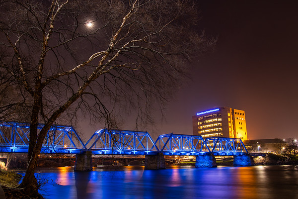 Grand Rapids Blue Bridge Spanning the Grand River Under the Moon