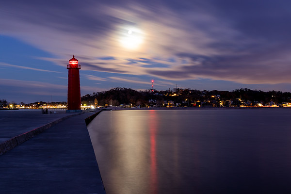 Moon Over the Grand Haven Pier