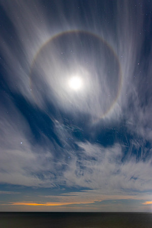 Ring Around the Moon Over Lake Michigan